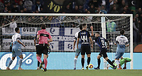 Calcio, Serie A: SS Lazio vs Internazionale Milano, Olympic stadium, Rome, October 29, 2018.<br /> Inter's captain Mauro Icardi celebrates after scoring during the Italian Serie A football match between SS Lazio and Inter Milan at Rome's Olympic stadium, on October 29, 2018.<br /> UPDATE IMAGES PRESS/Isabella Bonotto