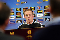 Pictured: Head Coach Garry Monk. Wednesday 19 February 2014<br /> Re: Swansea City FC manager Garry Monk gives a press conference ahead of tomorrow's UEFA Europa League game against Napoli at the Liberty Stadium, south Wales, UK