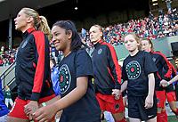 Portland, OR - Wednesday June 28, 2017: Allie Long, Dagný Brynjarsdóttir during a regular season National Women's Soccer League (NWSL) match between the Portland Thorns FC and FC Kansas City at Providence Park.