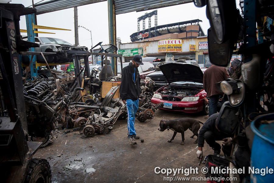 QUEENS, NY -- OCTOBER 22, 2013:  Yoni plays with his dog at ACDC Scrap Metal Inc. in Willets Point on October 22, 2013 in Queens.  Photographer: Michael Nagle for The New York Times