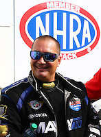 Aug. 18, 2013; Brainerd, MN, USA: NHRA top fuel dragster driver Brandon Bernstein during the Lucas Oil Nationals at Brainerd International Raceway. Mandatory Credit: Mark J. Rebilas-