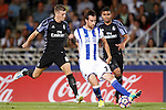Real Sociedad's Mikel Gonzalez (c) and Real Madrid's Toni Kroos (l) and Carlos Henrique Casemiro during La Liga match. August 21,2016. (ALTERPHOTOS/Acero)