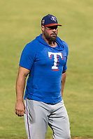 AZL Rangers pitching coach Eric Gagne during an Arizona League playoff game against the AZL Indians 1 at Goodyear Ballpark on August 28, 2018 in Goodyear, Arizona. The AZL Rangers defeated the AZL Indians 1 7-4. (Zachary Lucy/Four Seam Images)
