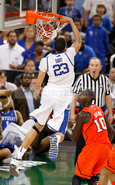 Kentucky Wildcats forward Anthony Davis dunks during the end of the second half of the UK vs. Louisville National Semi-finals at the Super Dome in New Orleans, Louisiana  March 31, 2012.. Photo by Brandon Goodwin | Staff