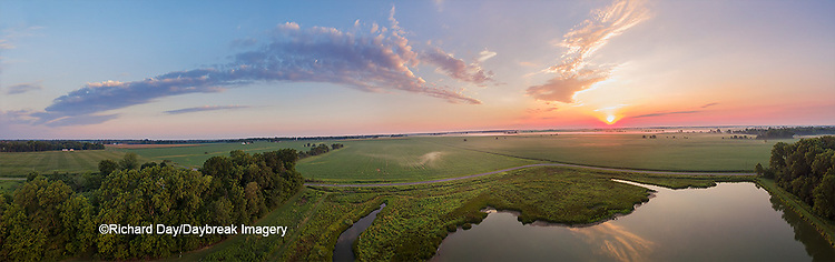 63893-03416 Sunrise in rural Illinois - panoramic aerial - Marion Co. IL