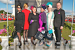 Ladies Day Listowel Races : The finalists in the Best Dressed Ladies competition pictured with the judges and sponsor. L-R : Celia Holman- Lee, judge, Mary Houlihan, Mary O'Flaherty, sponsor, winner Sharon Heffernan, Miriam O'Connor & Daithi O'Shea, judge.