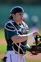Chicago State University Cougars catcher/outfielder Nathan Parade de la Feraude #4 during a game against the St. Bonaventure Bonnies at South County Regional Park on March 3, 2013 in Punta Gorda, Florida.  (Mike Janes/Four Seam Images)