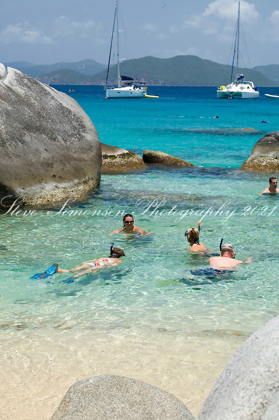People enjoying The Baths<br /> Virgin Gorda<br /> British Virgin Islands
