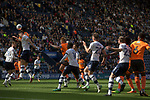 First-half action as the away team (in orange) press for an equaliser as Preston North End take on Reading in an EFL Championship match at Deepdale. The home team won the match 1-0, Jordan Hughill scoring the only goal after 22nd minutes, watched by a crowd of 11,174.