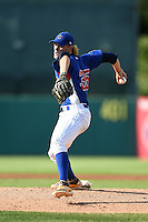 Ashe Russell (35) Cathedral High School in Indianapolis, Indiana playing for the Chicago Cubs scout team during the East Coast Pro Showcase on July 31, 2014 at NBT Bank Stadium in Syracuse, New York.  (Mike Janes/Four Seam Images)