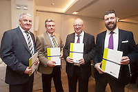 ***NO FEE PIC ***<br /> 23/04/2015<br /> (L to r) Eddie O'Flanaghan HAPAG LLYOD, Tom Foster HAPAG LLYOD, Thomas Conway Leinster Shipping Ltd, Graeme Glennon Leinster Shipping Ltd<br /> during the  launch by the Irish Maritime Development Office (IMDO) of its Irish Maritime Transport Economist report at the Morrison Hotel , Dublin.<br /> Photo:  Gareth Chaney Collins