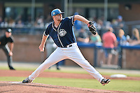Asheville Tourists starting pitcher Grahamm Wiest (40) delivers a pitch during a game against the Rome Braves on July 25, 2015 in Asheville, North Carolina. The Braves defeated the Tourists 3-2. (Tony Farlow/Four Seam Images)