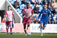 Emmanuel Sonupe of Stevenage chased by Ben Stevenson of Colchester United during Colchester United vs Stevenage, Sky Bet EFL League 2 Football at the JobServe Community Stadium on 5th October 2019
