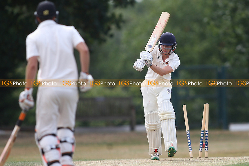 Jayden Rising of Wanstead takes the first Colchester wicket during Wanstead and Snaresbrook CC vs Colchester and East Essex CC, Shepherd Neame Essex League Cricket at Overton Drive on 1st September 2016