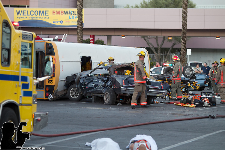 Mock disaster drill of school bus crash performed by the Las Vegas Fire,North Las Vegas, EM, Metro, Highway Patrol, and the EMS convention