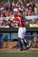 Batavia Muckdogs catcher David Gauntt (46) during a game against the Brooklyn Cyclones on July 4, 2016 at Dwyer Stadium in Batavia, New York.  Brooklyn defeated Batavia 5-1.  (Mike Janes/Four Seam Images)