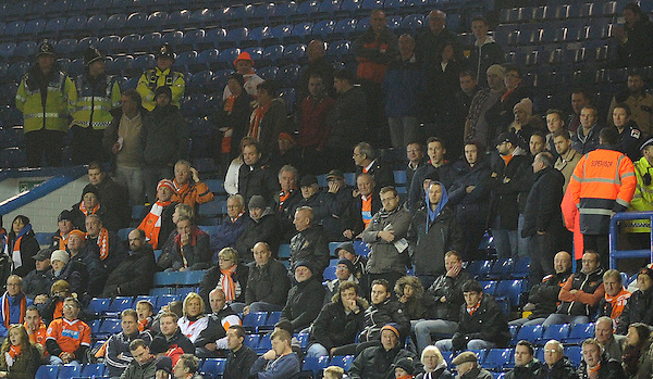 Blackpool fans look on during todays match  <br /> <br /> Photographer Kevin Barnes/CameraSport<br /> <br /> Football - The Football League Sky Bet Championship - Leeds United v Blackpool - Saturday 8th November 2014 - Elland Road - Leeds<br /> <br /> &copy; CameraSport - 43 Linden Ave. Countesthorpe. Leicester. England. LE8 5PG - Tel: +44 (0) 116 277 4147 - admin@camerasport.com - www.camerasport.com