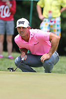 Bethesda, MD - July 2, 2017: Billy Horschel studies his putt shot during final round of professional play at the Quicken Loans National Tournament at TPC Potomac  in Bethesda, MD, July 2, 2017.  (Photo by Elliott Brown/Media Images International)