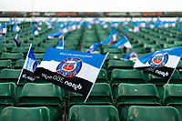 A general view of Bath Rugby flags in the east stand. Heineken Champions Cup match, between Bath Rugby and Stade Toulousain on October 13, 2018 at the Recreation Ground in Bath, England. Photo by: Patrick Khachfe / Onside Images
