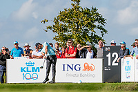 Thomas Pieters (BEL) in action on the 12th hole during the 1st round at the KLM Open, The International, Amsterdam, Badhoevedorp, Netherlands. 12/09/19.<br /> Picture Stefano Di Maria / Golffile.ie<br /> <br /> All photo usage must carry mandatory copyright credit (© Golffile | Stefano Di Maria)