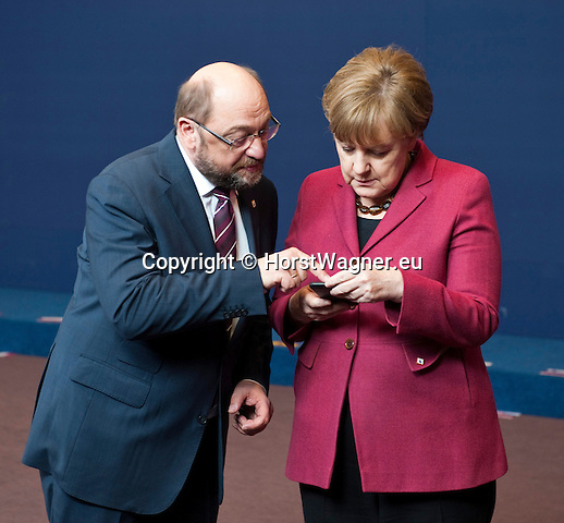 Belgium, Brussels - March 17, 2016 -- Martin SCHULZ (le), President of the European Parliament, with Angela MERKEL (ri), Federal Chancellor of Germany, on the first day of the European Council -- Photo © HorstWagner.eu