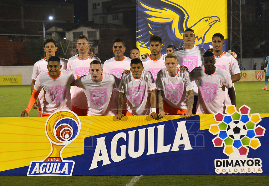 ENVIGADO- COLOMBIA, 08-10-2019.Formación del Envigado.Acción de juego entre los equipos Envigado y Jaguares de Córdoba durante partido por la fecha 16 de la Liga Águila II 2019 jugado en el estadio Polideportivo Sur de la ciudad de Medellín. /Team of Envigado.Action game between teams  Envigado and Jaguares of Cordoba during the match for the date 16 of the Liga Aguila II 2019 played at Polideportivo Sur stadium in Medellin  city. Photo: VizzorImage / Leon Monsalve/ Contribuidor