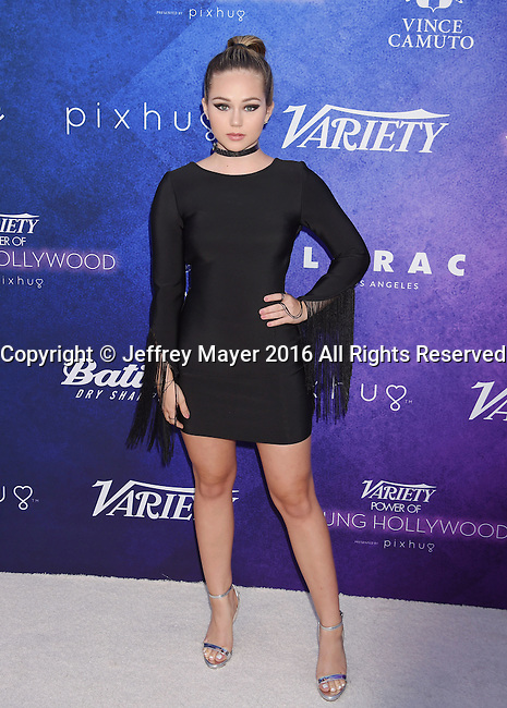 HOLLYWOOD, CA - AUGUST 16: Actress Brec Bassinger arrives at Variety's Power Of Young Hollywood at NeueHouse Hollywood on August 16, 2016 in Los Angeles, California.