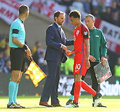 June 10th 2017, Hampden park, Glasgow, Scotland; World Cup 2018 Qualifying football, Scotland versus England; Gareth Southgate congratulates Dele Alli as he is substituted late in the game