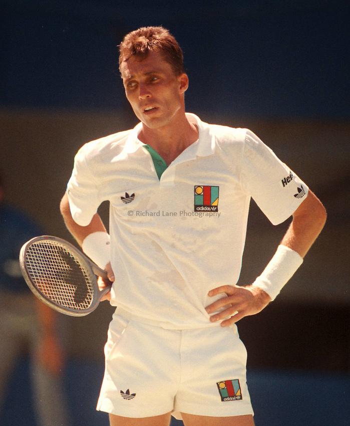 Photo. Steve Holland.Australian Open at Melbourne. 1989..Ivan Lendl