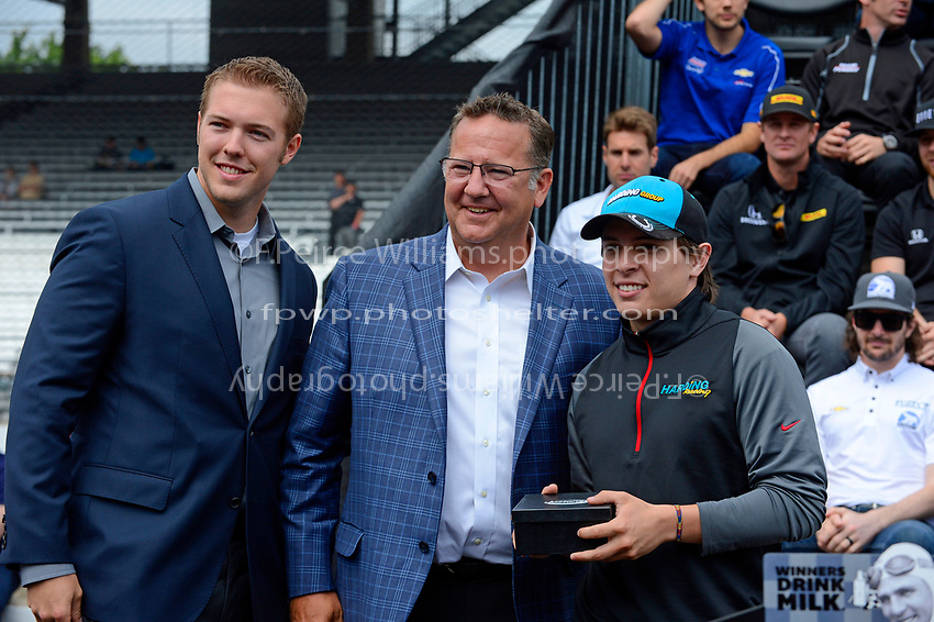Verizon IndyCar Series<br /> Indianapolis 500 Drivers Meeting<br /> Indianapolis Motor Speedway, Indianapolis, IN USA<br /> Saturday 27 May 2017<br /> Starter's ring presentation: Gabby Chaves, Harding Racing Chevrolet<br /> World Copyright: F. Peirce Williams
