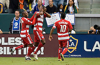 FC Dallas midfielder Atiba Harris begins the celebration of his goal with teammates. The LA Galaxy defeated FC Dallas 2-1 at Home Depot Center stadium in Carson, California on Sunday October 24, 2010.