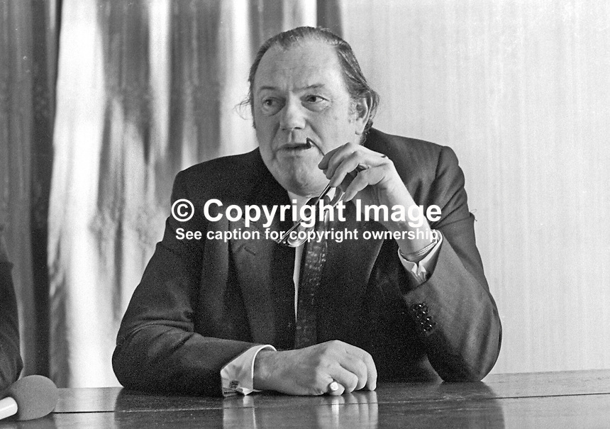 Reginald Maudling, MP, Home Secretary, UK, gives press conference at Belfast International Airport following short visit to N Ireland. 197112150531.<br /> <br /> Copyright Image from Victor Patterson,<br /> 54 Dorchester Park, Belfast, UK, BT9 6RJ<br /> <br /> t: +44 28 90661296<br /> m: +44 7802 353836<br /> e1: victorpatterson@me.com<br /> e2: victorpatterson@gmail.com<br /> <br /> For my Terms and Conditions of Use go to<br /> www.victorpatterson.com