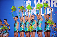 Rhythmic group of Italy wins All Around gold at 2010 Pesaro World Cup on August 28, 2010 at Pesaro, Italy.  Photo by Tom Theobald.