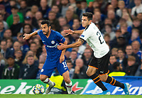 Chelsea's Pedro and Valencia Maxi Gomez during the UEFA Champions League match between Chelsea and Valencia  at Stamford Bridge, London, England on 17 September 2019. Photo by Andrew Aleksiejczuk / PRiME Media Images.