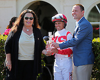 HALLANDALE BEACH, FL - FEBRUARY 04:  The Swale Stakes trophy presentation with Sandy Bruno, jockey Javier Castellano and Chad Brown in the winners circle after the Swale Stakes G2 at Gulfstream Park on February 04, 2017 in Hallandale Beach, Florida. (Photo by Liz Lamont/Eclipse Sportswire/Getty Images)