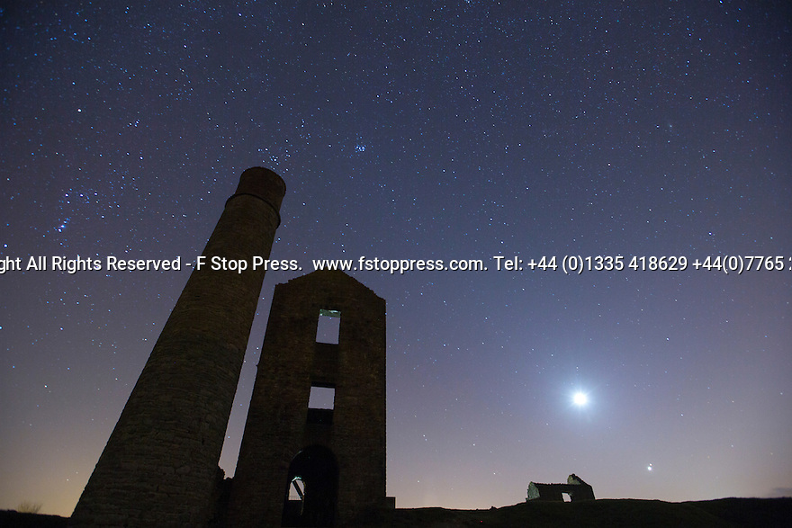 21/02/15  <br /> <br /> Mars and Venus appear above the horizon (bottom right of frame) over Magpie Mine, an old lead mine near Monyash, in the Derbyshire Peak District. It is the closest conjunction of the two planets since September 11, 2008. They won't couple up this closely again until October 5, 2017<br /> <br /> All Rights Reserved - F Stop Press.  www.fstoppress.com. Tel: +44 (0)1335 418629 +44(0)7765 242650