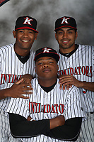 Kannapolis Intimidators pitches Yosmer Solarzano (18), Kevin Escorcia (5), and Luis Ledo (39) pose for a photo at Kannapolis Intimidators Stadium on April 5, 2017 in Kannapolis, North Carolina.  (Brian Westerholt/Four Seam Images)