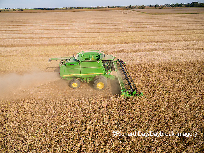 63801-09203 Soybean Harvest, John Deere combine harvesting soybeans - aerial - Marion Co. IL