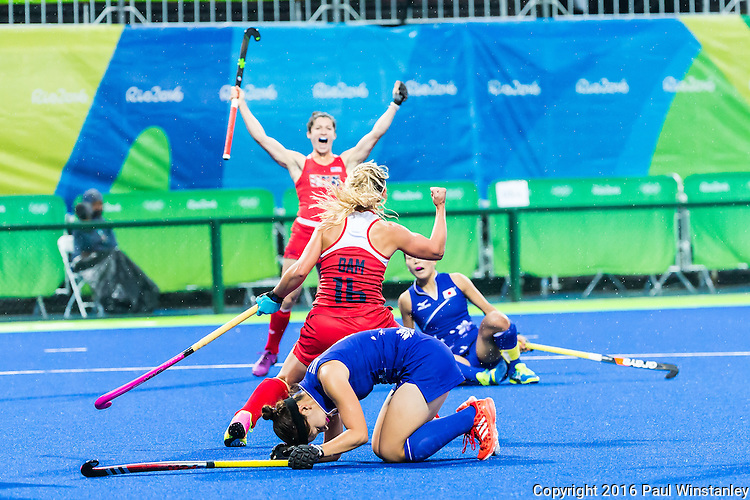 Katie Bam #16 of United States and Michelle Vittese #9 of United States celebrate a goal during USA vs Japan in a Pool B game at the Rio 2016 Olympics at the Olympic Hockey Centre in Rio de Janeiro, Brazil.