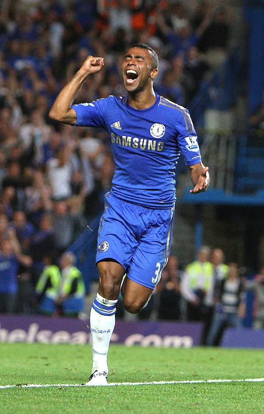 Chelsea's Ashley Cole celebrates his sides second goal scored by Chelsea's Fernando Torres ..Football - Barclays Premiership - Chelsea v Reading - Wednesday 22nd August 2012 - Stamford Bridge - London..© CameraSport - 43 Linden Ave. Countesthorpe. Leicester. England. LE8 5PG - Tel: +44 (0) 116 277 4147 - admin@camerasport.com - www.camerasport.com