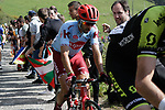 Riders on the Ixua a brutal 20% off road climb during Stage 5 of the Tour of the Basque Country 2019 running 149.8km from Arrigorriaga to Arrate, Spain. 12th April 2019.<br /> Picture: Colin Flockton | Cyclefile<br /> <br /> <br /> All photos usage must carry mandatory copyright credit (&copy; Cyclefile | Colin Flockton)
