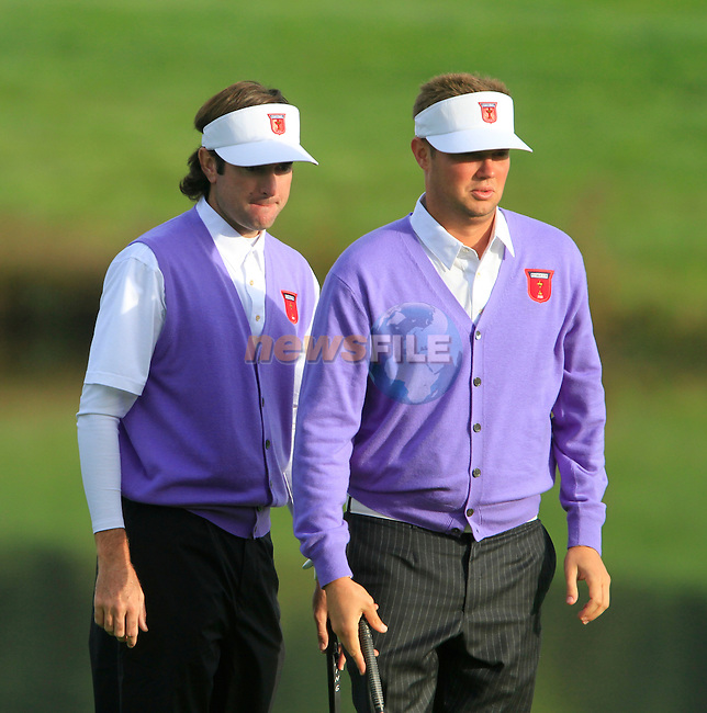 Bubba Watson and Jeff Overton line up his putt on the 13th green in the Day 2 session of the overnight Fourball Match 4 during Day 1 of the The 2010 Ryder Cup at the Celtic Manor, Newport, Wales, 29th September 2010..(Picture Eoin Clarke/www.golffile.ie)