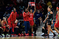 Washington, DC - August 25, 2019: Washington Mystics guard Natasha Cloud (9) holds up a Hype sign on the sidelines during first half action of game between the New York Liberty and the Washington Mystics at the Entertainment and Sports Arena in Washington, DC. The Mystics defeated New York 101-72. (Photo by Phil Peters/Media Images International)
