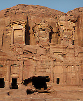 Corinthian tomb, one of the Royal tombs, 1st century AD, Petra, Ma'an, Jordan. These tombs were carved by the Nabateans for their Kings in the face of Jabal al-Khubtha, the mountain overlooking Petra on the East. Petra was the capital and royal city of the Nabateans, Arabic desert nomads. Picture by Manuel Cohen