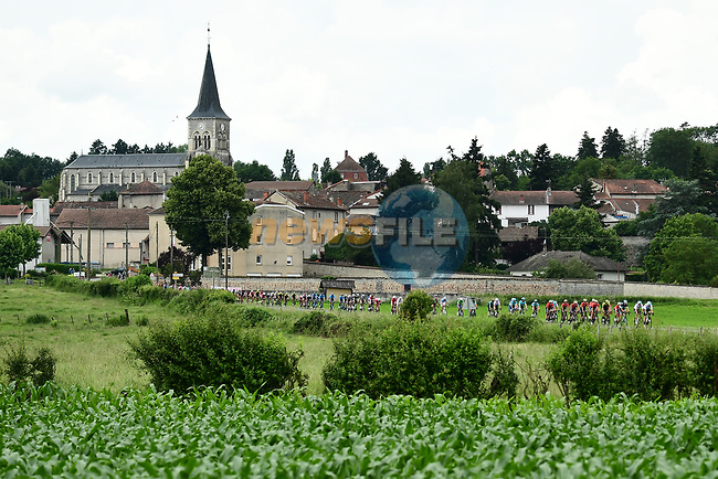 The peleton in action during Stage 2 of the 2018 Criterium du Dauphine 2018 running 181km from Montbrison to Belleville, France. 5th June 2018.<br /> Picture: ASO/Alex Broadway | Cyclefile<br /> <br /> <br /> All photos usage must carry mandatory copyright credit (© Cyclefile | ASO/Alex Broadway)