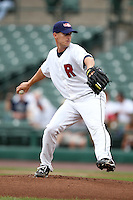 Rochester Red Wings starting pitcher Matt Fox (47) during a game vs. the Indianapolis Indians at Frontier Field in Rochester, New York;  July 17, 2010.   Indianapolis defeated Rochester 10-7.  Photo By Mike Janes/Four Seam Images