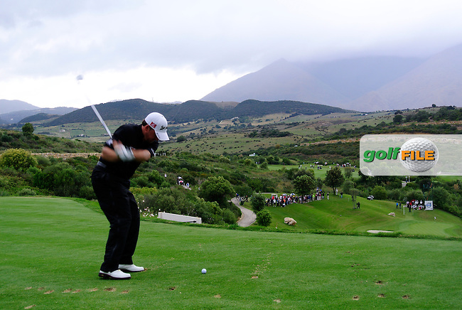 Graeme McDowell (NIR) tees off on the par3 10th tee during Sunday morning's Semi Final Matches of the Volvo World Matchplay Championship at Finca Cortesin, Casares, Spain 20th May 2012 (Photo Eoin Clarke/www.golffile.ie)
