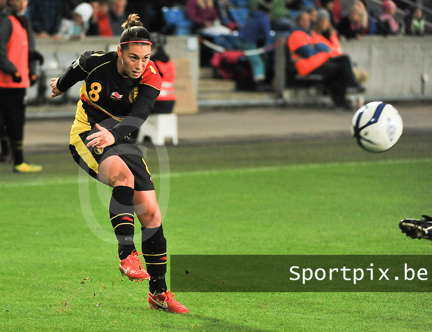 20130925 - OSLO , NORWAY : Belgian Audrey Demoustier  pictured during the female soccer match between Norway and Belgium , on the second matchday in group 5 of the UEFA qualifying round to the FIFA Women World Cup in Canada 2015 at the Ullevaal Stadion , Oslo . Wednesday 25th September 2013. PHOTO DAVID CATRY