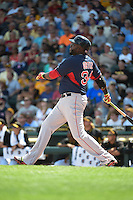 Boston Red Sox designated hitter David Ortiz (34) hits a home run during a Spring Training game against the Pittsburgh Pirates on March 12, 2015 at McKechnie Field in Bradenton, Florida.  Boston defeated Pittsburgh 5-1.  (Mike Janes/Four Seam Images)