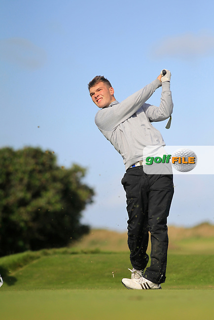 Ben Graham (Scrabo) on the 7th tee during Round 3 of the Irish Youths Amateur Close Championship in Ardglass Golf Club on Friday 29th August 2014.<br /> Picture:  Thos Caffrey / www.golffile.ie